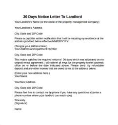 Exle Of A 30 Day Notice by 30 Days Notice Letter To Landlord 7 Free Documents In Word