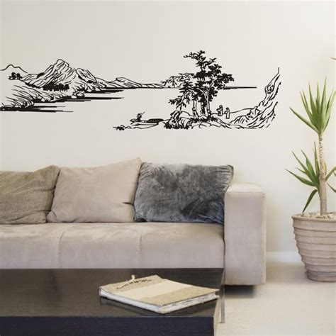 misty mountains wall mural home decor walls chinese style painting mountain river tree wall stickers