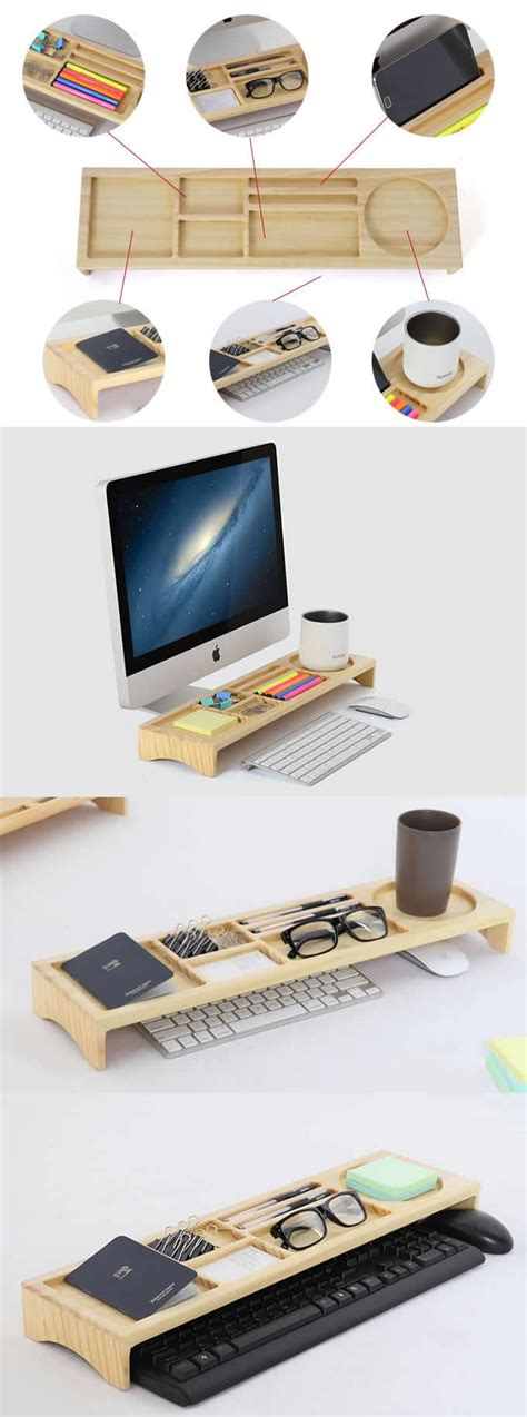 Wooden Stationery Office Desk Organizer Phone Stand Holder Office Desk Pen Holder
