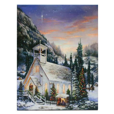 lighted church canvas raz imports 39656 20 quot x 16 quot x 1 quot quot church quot battery operated led lighted canvas batteries not