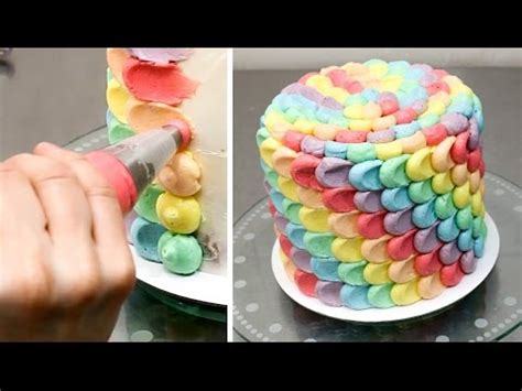 how to decorate the cake at home how to make a rainbow petal cake buttercream cake