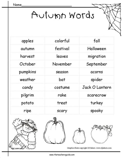 theme list for students fall pictionary words list for kids google search fall