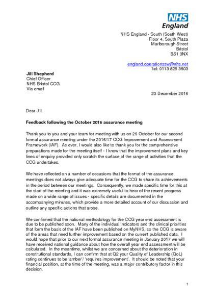 nhs cover letter nhs assurance documents bristol ccg