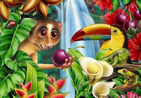 Realistic illustrations of animals, plants and flowers in