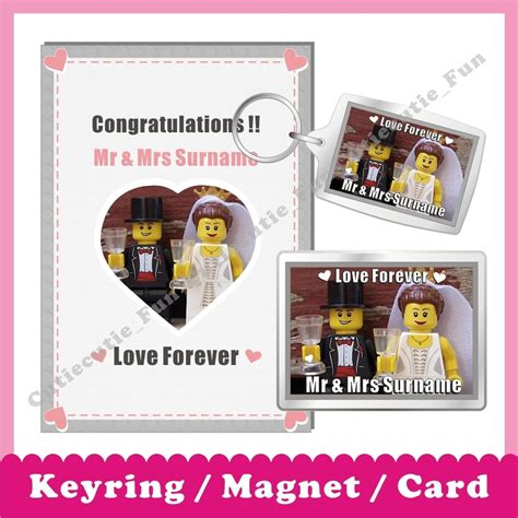 Lego Gift Card Email - personalised lego wedding congratulations magnet keyring