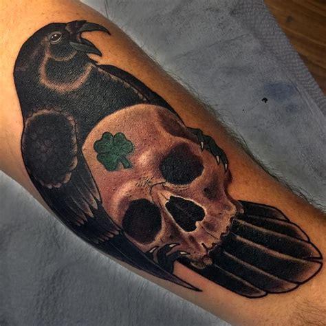 big diamond tattoo grass valley ca raven and skull by eddie zavala tattoonow