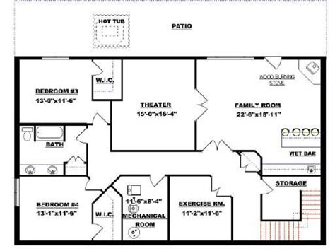 Ranch House Floor Plans With Basement Small Modular Homes Floor Plans Floor Plans With Walkout Basement Bungalow Basement Floor Plans