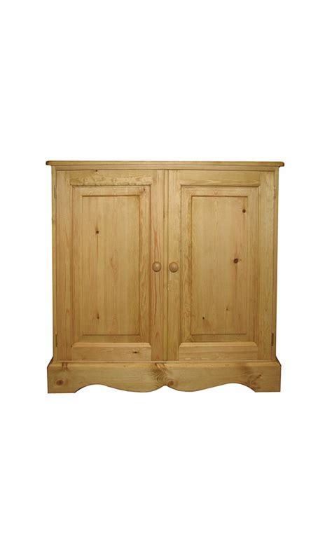 Kerris Farmhouse Pine Adjustable With Doors Low Bookcase With Doors