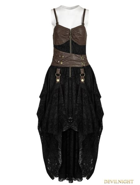 dress 25675 black and coffee black and coffee lace high low steunk dress