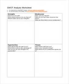 swot analysis worksheet template swot analysis exle 10 sles in pdf word