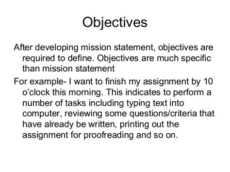 mission statement objectives objectives mission and vision