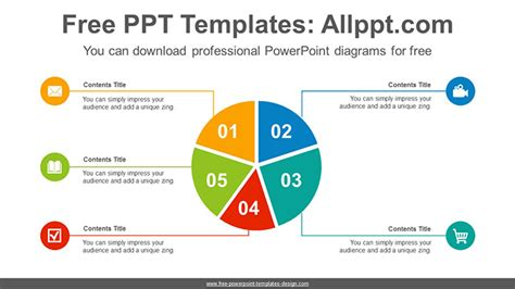 5 Split Pie Chart Powerpoint Diagram Template Powerpoint Chart