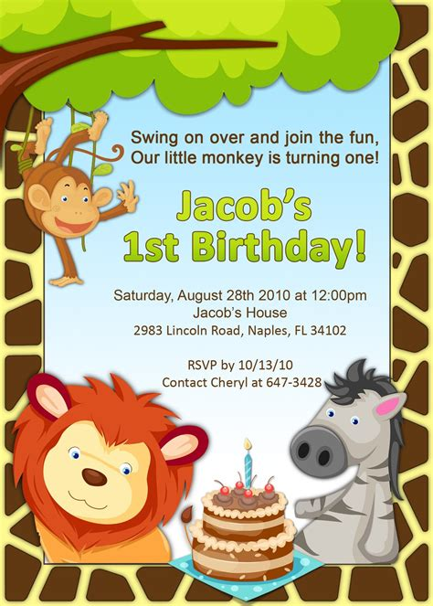 1st Birthday Jungle Invitation Themed Invitations Free Templates
