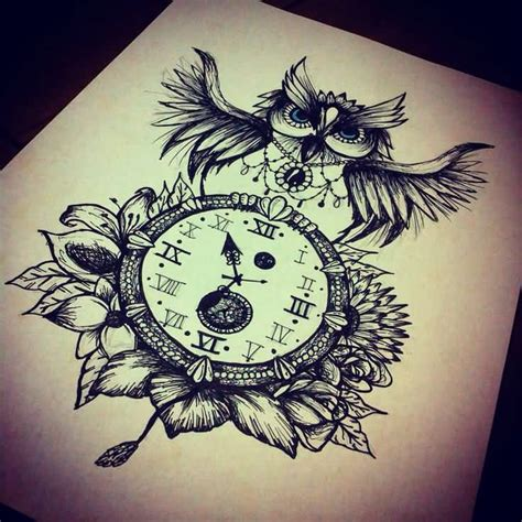 owl clock tattoo owl and clock design