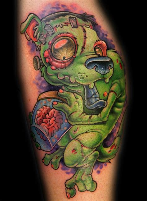 zombie tattoo on leg by graynd tattooimages biz 3d lustig aussehender farbiger zombie hund tattoo am bein