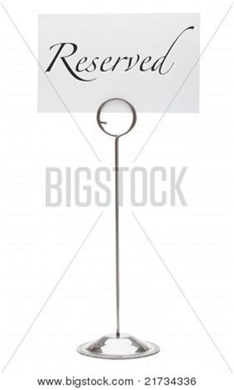 table stands for signs reserved table stand sign for restaurant stock photo