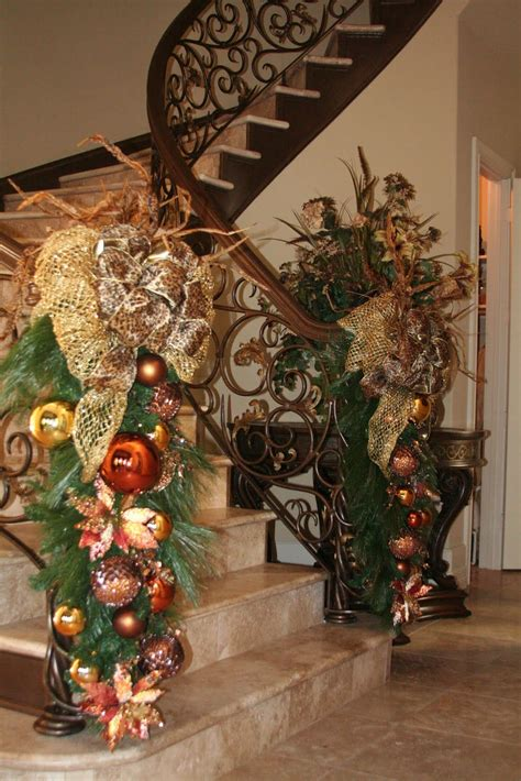 decorating banisters for christmas christmas decorations staircase banister stairway