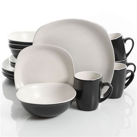 Kitchen Collection Outlet Coupon Gibson Home Tristen 16 Piece Dinnerware Set White Black