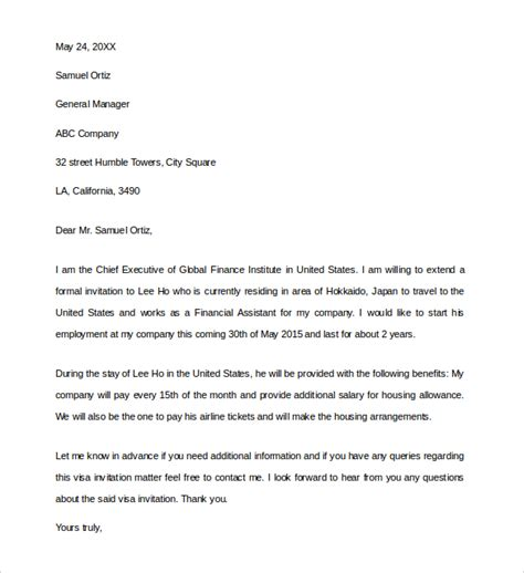 Letter Of Support For B1 Visa Business Invitation Letter 9 Free Documents In Pdf Word