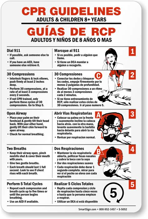printable cpr instructions bilingual cpr guidelines sign adults children 8 years