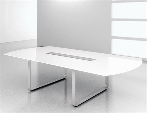 contemporary table white glass modern conference table ambience dor 233