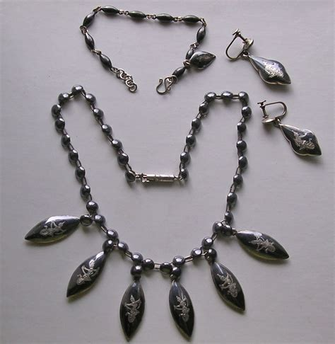 siam sterling silver niello necklace earrings bracelet