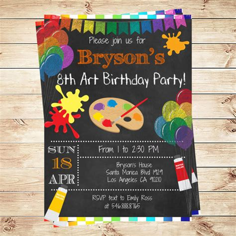 printable art party invitations painting arts kids birthday party invitations printable