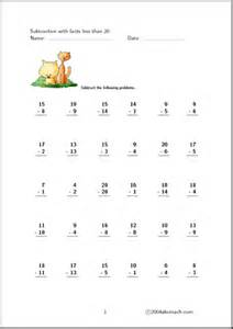 worksheet subtraction facts up to 20 set 3 abcteach