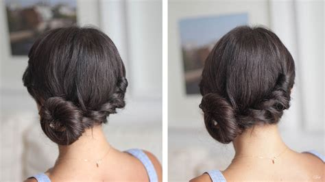 hairstyles that are twisted on one side and curly on the other easy twisted side bun youtube
