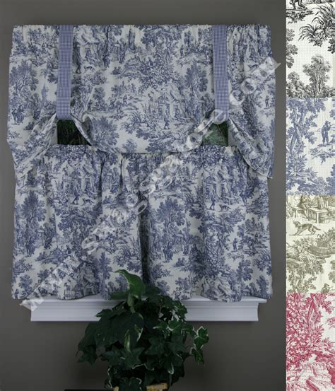 toile kitchen curtains victoria park tie up valance and tier pair blue toile