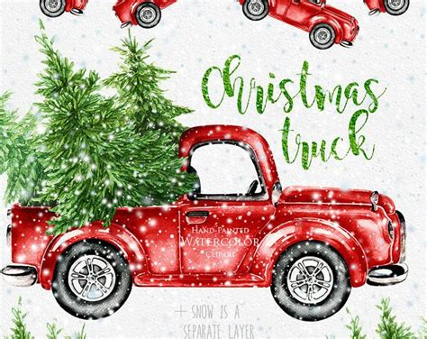 christmas jeep wallpaper watercolor christmas truck vintage red pickup pine tree