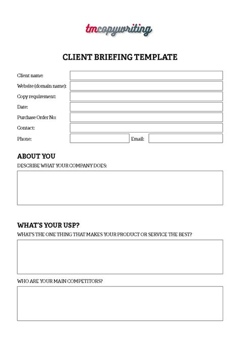 copy brief template copy brief template image collections template design ideas