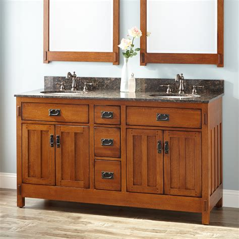 craftsman style bathroom vanities 60 quot american craftsman double vanity for undermount sinks