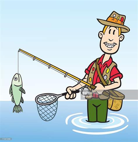 cartoon fisherman in boat cartoon fisherman vector art getty images
