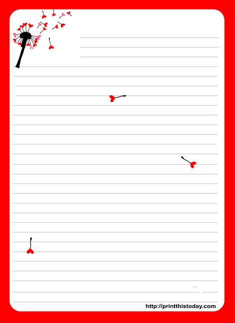free printable valentine letters love letter pad stationery with dandelion briefpapier