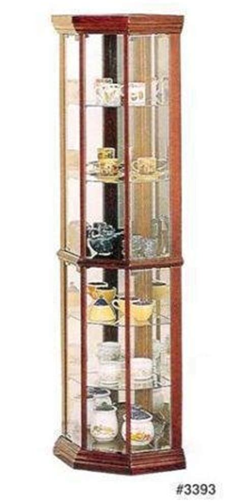 cherry wood corner curio cabinet 9 coaster solid wood glass corner china curio cabinet