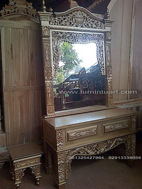 meja rias cermin kaca gebyok mahkota ukiran kayu jati