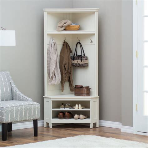 corner hall tree bench hall tree storage bench white corner coat rack shoe shelf