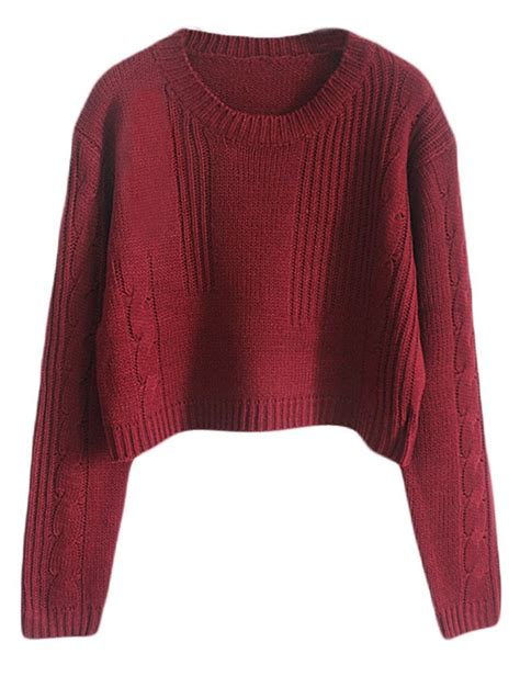 burgundy knit sweater cable knit jumper womens crochet and knit