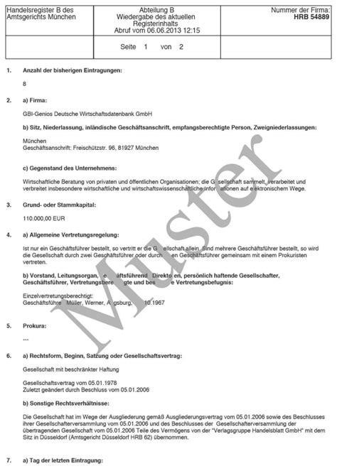 Muster Rechnung Dreiecksgeschäft Handelsregisterauskunft Hrb Peoplecheck De
