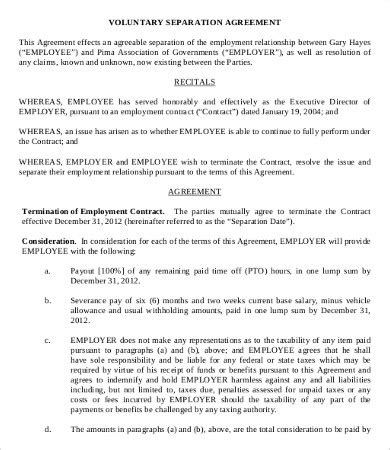 Simple Employment Separation Agreement Template 8 Free Pdf Documents Download Free Employee Severance Agreement Template