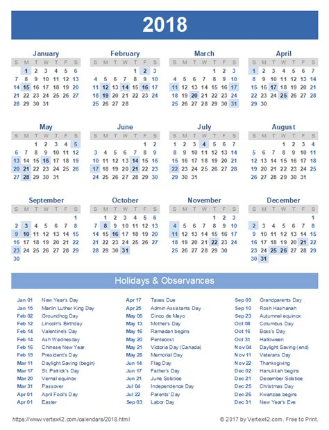 Free Printable 2018 Calendar With Holidays 2018 Calendar Templates And Images