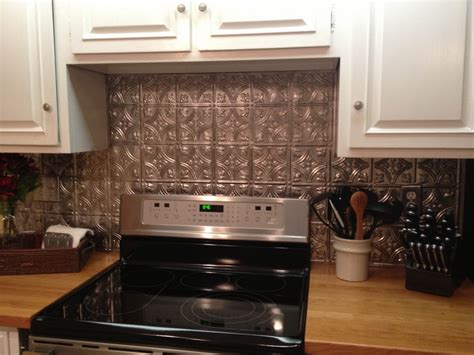 How To Apply Backsplash In Kitchen by Kitchen Faux Tin Backsplash With White Cabinet How To