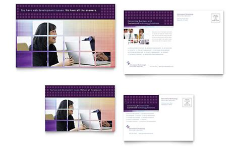 Technology Postcards Templates Designs Computer Consulting Website Template