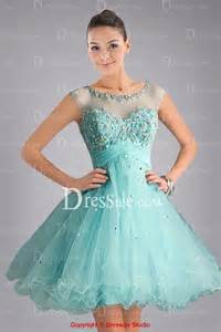 Lovely illusion neckline light blue sweet 16 dress with crystals and