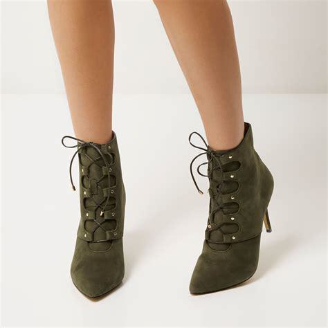 khakis and boots river island khaki leather lace up pointed heeled boots in