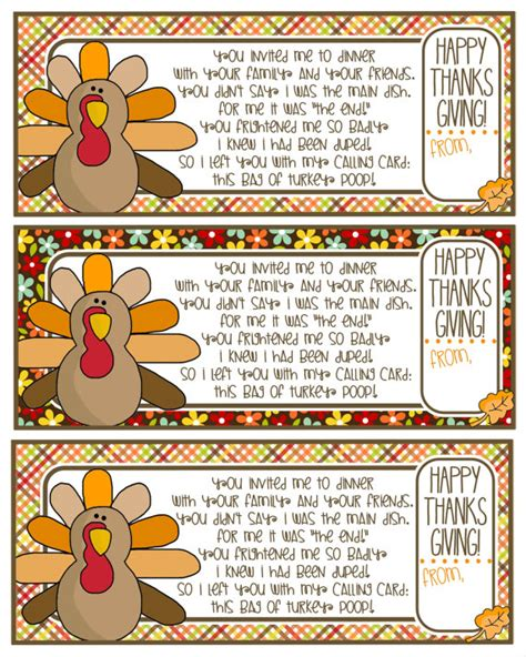 printable turkey poop poem turkey poop poem gift tag happy thanksgiving thanksgiving