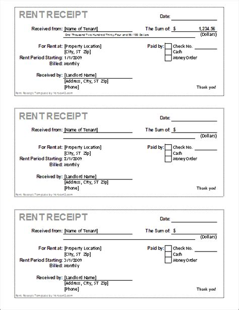 Rent Receipt Spreadsheet Template by Rent Receipt Free Printable Documents