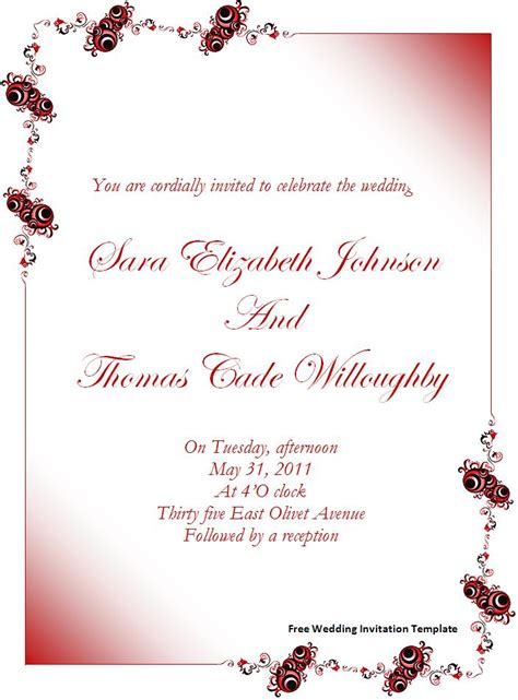 Free Downloadable Wedding Templates free wedding invitation template page word