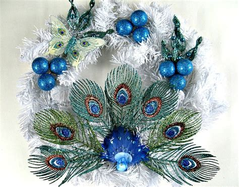 peacock decorations peacock christmas wreath holiday decoration winter wreath